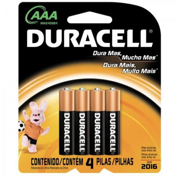 Pilha AAA Palito 15V DURACELL 4 Pilhas ESHOP10