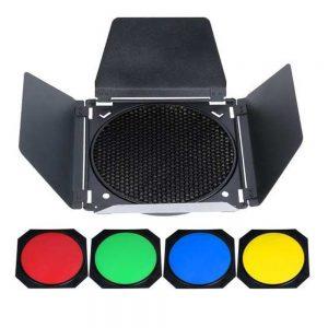 Barndoor Rebatedor Para Flash SK300, F-300, De300, Greika Com 4 Filtros