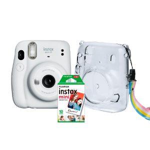 Fujifilm Instax Mini 11 Kit Câmera Branca Com Pack 10 Fotos e Bolsa Crystal