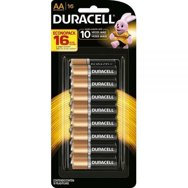 pilha alcalina duracell aa pequena com 16 unidades 15404317