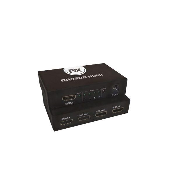 Divisor HDMI 1 Entrada 4 Saídas Compatível Para TV 3D PIX